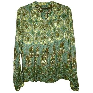 PrAna Green Paisley Button Down Blouse Size Small